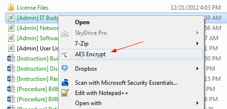 AES-Crypt-context-menu