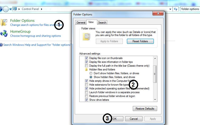 تأكد من ازالة الاختيار على Hide extensions for known file types