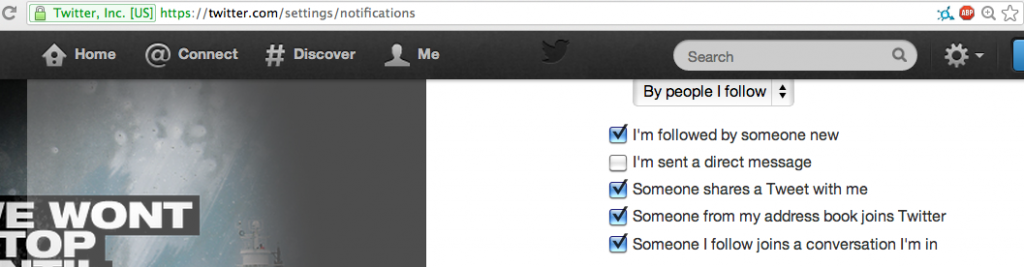 """Uncheck the """"I'm sent a direct message"""" option to disable DM notifications via email"""
